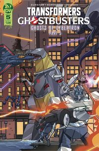 [The cover for Transformers/Ghostbusters #5 (Cover A Schoening)]