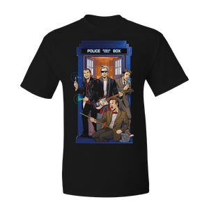 [Doctor Who: T-Shirt: Four Doctors Band By Kelly Yates (Product Image)]