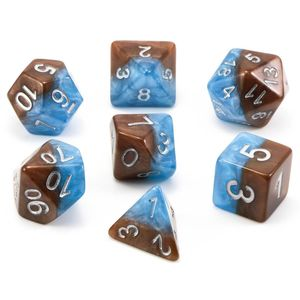 [Dice: Poly 7 Dice Set: Blue Brown/Silver (Product Image)]
