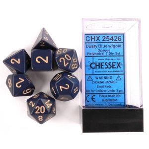 [Dice: Opaque Poly 7-Set: Dusty Blue/Gold (Product Image)]