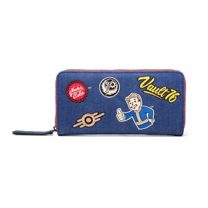 [Fallout 76: Zip Around Purse: Denim With Patches (Product Image)]