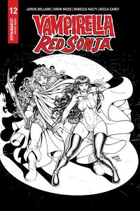 [Vampirella/Red Sonja #12 (Robson Black & White Homage Variant) (Product Image)]