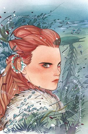 [The cover for Horizon Zero Dawn #1 (Peach Momoko SDCC Connecting Virgin Variant)]