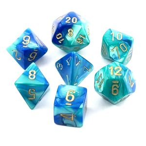 [Dice: Gemini Poly 7-Set: Blue-Teal/Gold (Product Image)]