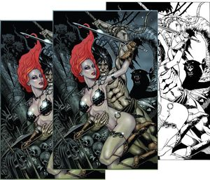 [Red Sonja/Tarzan #1 (Jetpack Forbidden Planet Jim Balent Variant 3-Pack Set) (Product Image)]